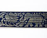 蓮とゾウのチロリアンテープ-メーター売【中幅 約4cm】-12番-紺色