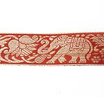 蓮とゾウのチロリアンテープ-メーター売【中幅 約4cm】-13番-赤茶色