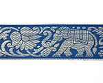 蓮とゾウのチロリアンテープ-約16mロール売り【中幅 約4cm】-14番-青色