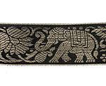 蓮とゾウのチロリアンテープ-約16mロール売り【中幅 約4cm】-2番-黒色