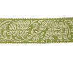 蓮とゾウのチロリアンテープ-メーター売【中幅 約4cm】-4番-抹茶色