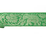 蓮とゾウのチロリアンテープ-メーター売【中幅 約4cm】-5番-緑色