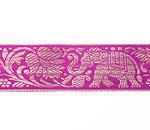 蓮とゾウのチロリアンテープ-約16mロール売り【中幅 約4cm】-8番-ワイン色