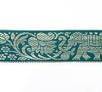 蓮とゾウのチロリアンテープ-約16mロール売り【中幅 約4cm】-9番-アクアマリン