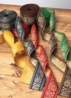 インドとアジアの布のセール品:[セール品]花とつる草のチロリアンテープ-約16mロール売り【太幅 約5.5cm】