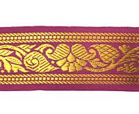 【訳ありセール品】ザリの中幅チロリアンテープ-メーター売り【約4cm】-1番-赤紫