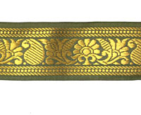 【訳ありセール品】ザリの中幅チロリアンテープ-メーター売り【約4cm】-5番-抹茶色