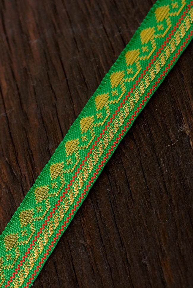 (幅:約1cm)細幅のチロリアンテープ (1m売り) - 緑 2 - インドではサリーの飾り付けなどに用いられています。