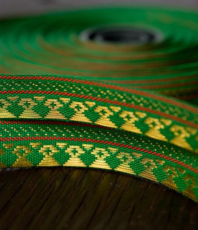 (幅:約1cm)細幅のチロリアンテープ (1m売り) - 緑 5 - 裏面はこんな感じ。