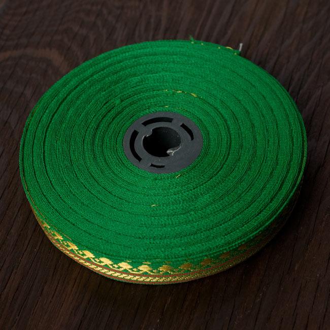 (幅:約1cm)細幅のチロリアンテープ (1m売り) - 緑 6 - ロール状ではこのような姿です。