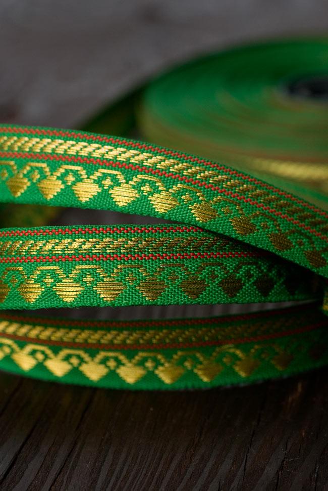 (幅:約1cm)細幅のチロリアンテープ (1m売り) - 緑の写真