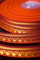 (幅:約1cm)細幅のチロリアンテープ (25mロール売り) - オレンジ
