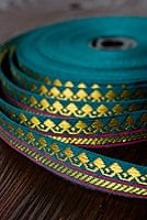 (幅:約1cm)細幅のチロリアンテープ (25mロール売り) - 青緑
