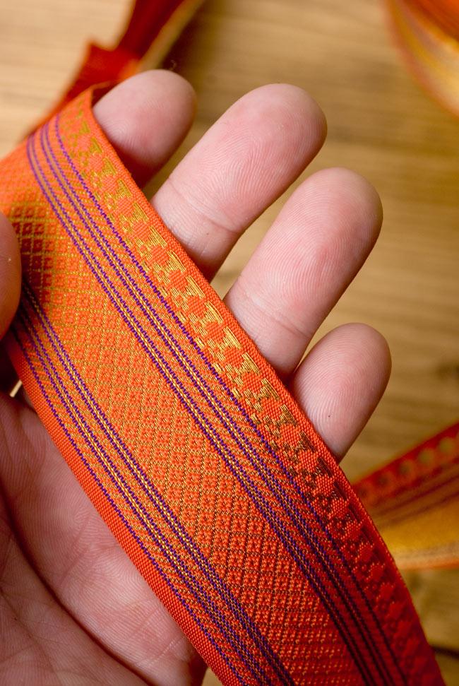 [幅:約4cm]中幅のチロリアンテープ - オレンジ[25m売り]の写真5 - 裏面はこんな感じ。