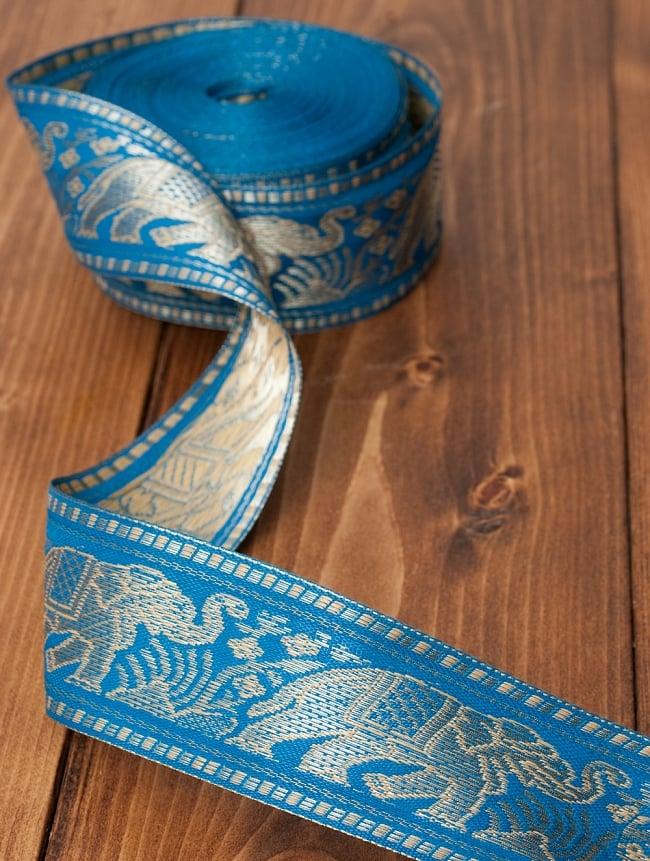 象のチロリアンテープ-約16mロール売り-太幅 約5cm【水色】 2 - テープは柔らかく、布にフットします