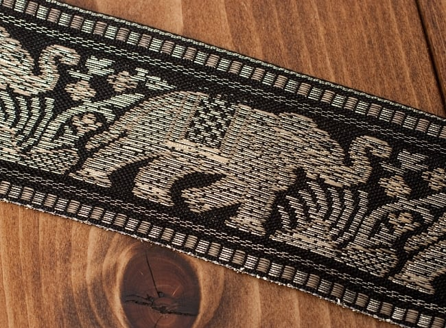象のチロリアンテープ-メーター売り-太幅 約5cm【黒色】の写真3 - テープをアップにしました
