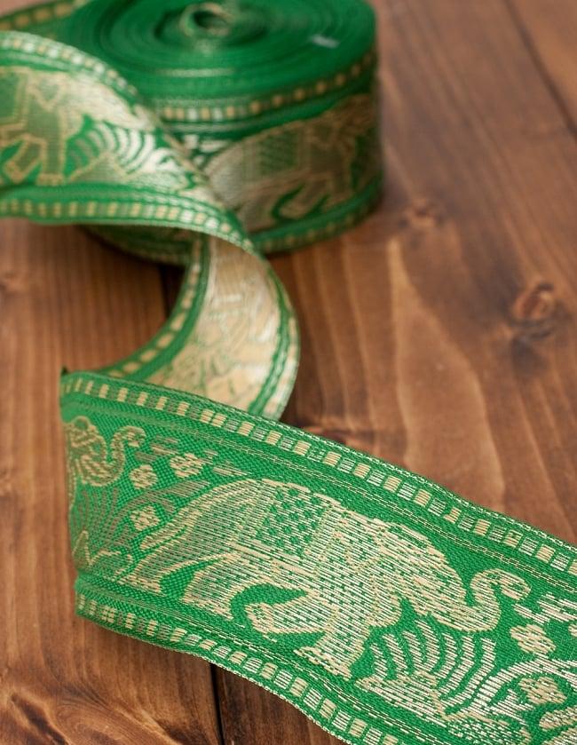 象のチロリアンテープ-メーター売り-太幅 約5cm【緑色】の写真2 - テープは柔らかく、布にフットします
