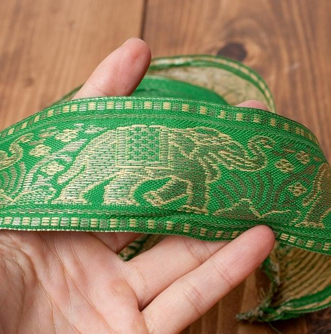 象のチロリアンテープ-メーター売り-太幅 約5cm【緑色】の写真4 - サイズ比較のために手に持ってみました