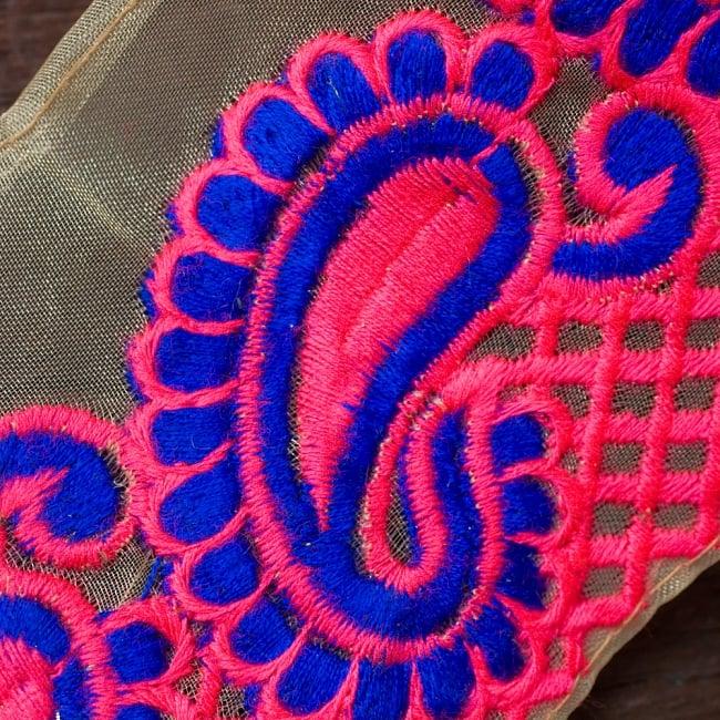 透け素材ペイズリー柄チロリアンテープ(メーター売り・幅約8cm) - ピンク 2 - アップにしてみました!カラフルなペイズリー刺繍がとても素敵です^^