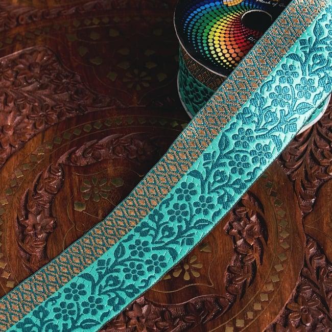 〔各色あり〕チロリアンテープ メーター売 - 美しい光沢感 更紗模様のブロケード〔幅:約5.5cm〕の写真