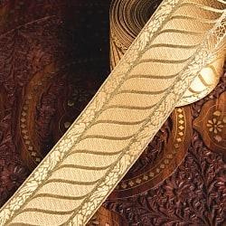 チロリアンテープ メーター売 - 美しい光沢感 金色の伝統模様ブロケード〔幅:約7cm〕