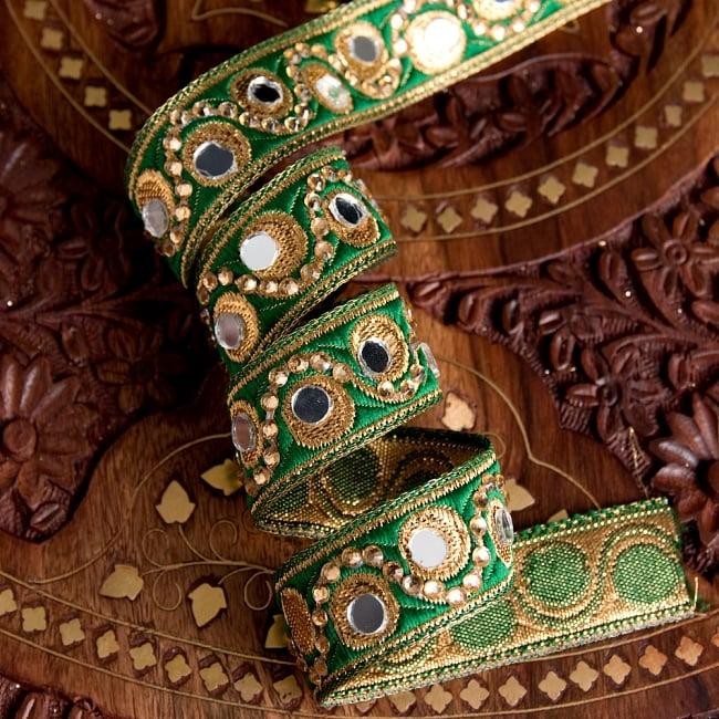 〔各色あり〕チロリアンテープ メーター売 - 色鮮やか ミラーワークとビーズ刺繍〔幅:約2.5cm〕 2 - 他にはないとても素敵な雰囲気