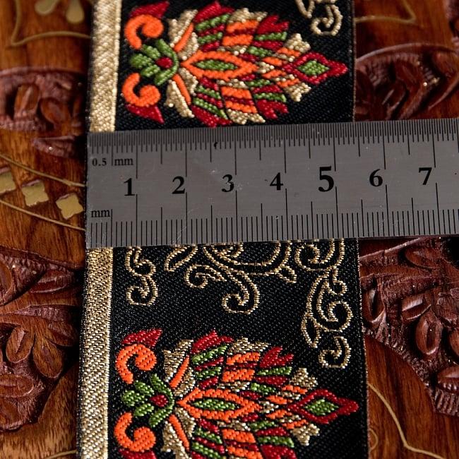 〔各色あり〕チロリアンテープ メーター売 - 美しい光沢感 更紗模様のブロケード〔幅:約5.3cm〕 6 - 横幅はこのようになります。長さは、メートル単位の切り売りとなります。