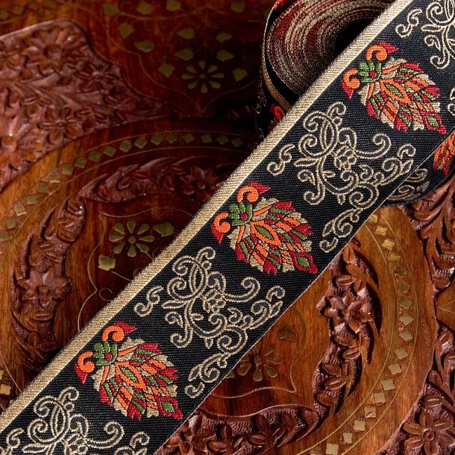 〔各色あり〕チロリアンテープ メーター売 - 美しい光沢感 更紗模様のブロケード〔幅:約5.3cm〕の写真