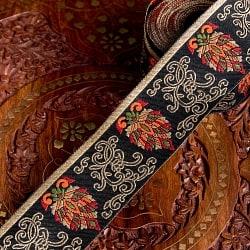 〔各色あり〕チロリアンテープ メーター売 - 美しい光沢感 更紗模様のブロケード〔幅:約5.3cm〕