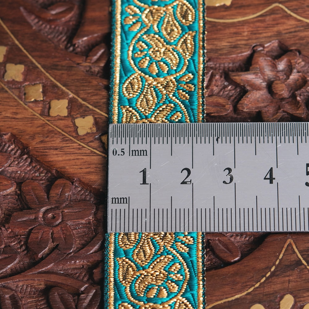 約9m ロール売り〔各色あり〕チロリアンテープ 美しい光沢感 更紗模様のブロケード〔幅:約2.3cm〕 6 - 横幅はこのようになります