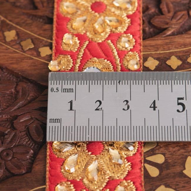 約9m ロール売り〔各色あり〕チロリアンテープ - ミラーワークとビーズ刺繍〔幅:約3.4cm〕 6 - 横幅はこのようになります