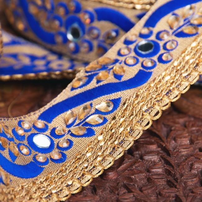 約9m ロール売り〔各色あり〕チロリアンテープ - ミラーワークとビーズ刺繍〔幅:約4.5cm〕 4 - 別の角度から