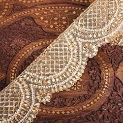 チロリアンテープ メーター売 - 金糸が美しい 更紗模様のゴータ刺繍〔幅:約8.5cm〕