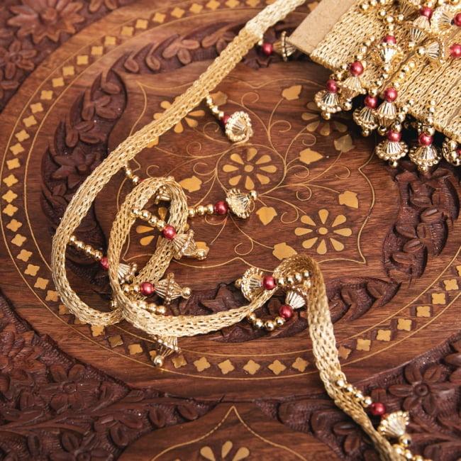 チロリアンテープ メーター売 - 華やかな金色のビーズ装飾 ベリーダンスなどへオススメ〔幅:約3.5cm〕 2 - 他にはないとても素敵な雰囲気