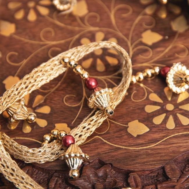 チロリアンテープ メーター売 - 華やかな金色のビーズ装飾 ベリーダンスなどへオススメ〔幅:約3.5cm〕 3 - 拡大写真です