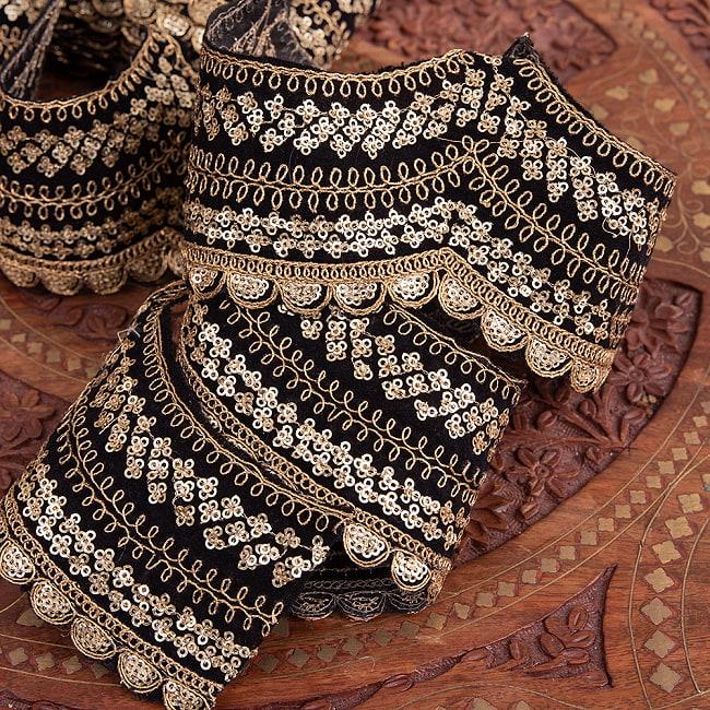 チロリアンテープ メーター売 - 金糸が美しい 更紗模様のゴータ刺繍〔幅:約10cm〕 - 黒ベロア 3 - 他にはないとても素敵な雰囲気