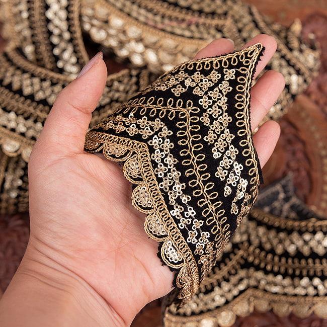 チロリアンテープ メーター売 - 金糸が美しい 更紗模様のゴータ刺繍〔幅:約10cm〕 - 黒ベロア 6 - 手にとってみました