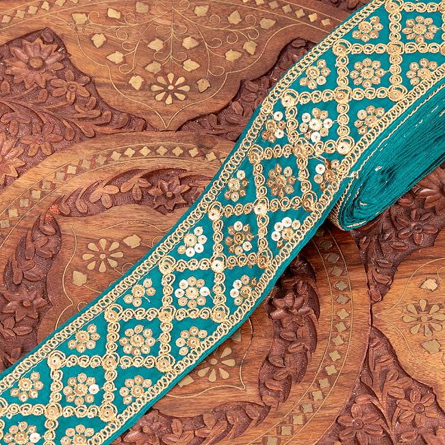 【全7色】 チロリアンテープ メーター売 - 金糸が美しい 更紗模様のゴータ刺繍〔幅:約5.8cm〕 - ハンデラバード 16 - 7:エメラルド
