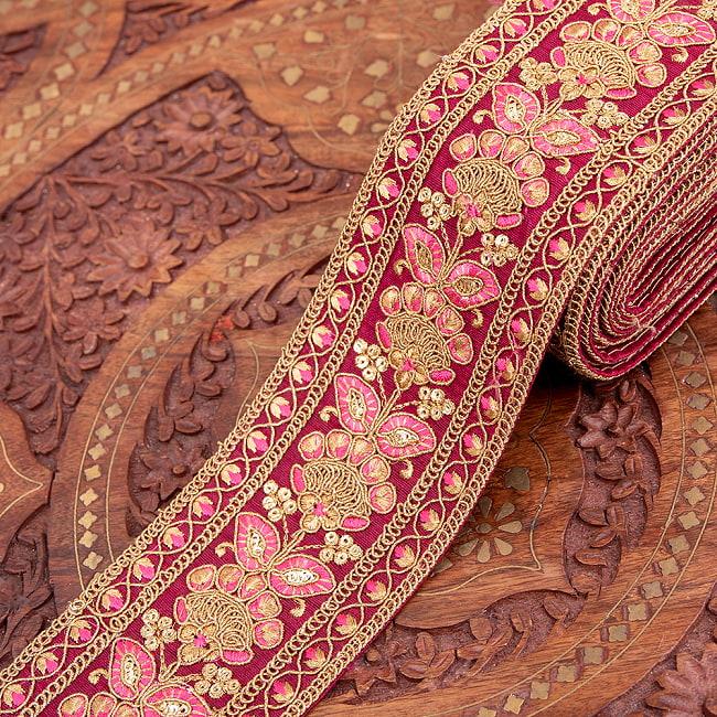 【全5色】 【極太幅7.5cm】 チロリアンテープ メーター売 - 金糸が美しい 更紗模様のゴータ刺繍 −金魚草 11 - 4:マゼンタ
