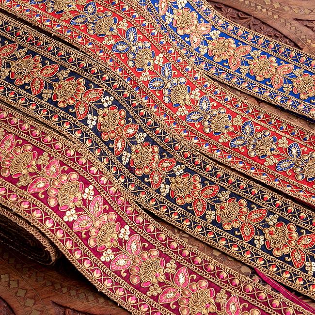 【全5色】 【極太幅7.5cm】 チロリアンテープ メーター売 - 金糸が美しい 更紗模様のゴータ刺繍 −金魚草 12 - 高級感があります