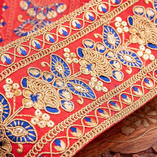 【全5色】 【極太幅7.5cm】 チロリアンテープ メーター売 - 金糸が美しい 更紗模様のゴータ刺繍 −金魚草 2 - 拡大写真です