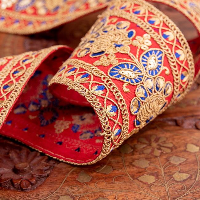 【全5色】 【極太幅7.5cm】 チロリアンテープ メーター売 - 金糸が美しい 更紗模様のゴータ刺繍 −金魚草 4 - 別の角度からの写真です