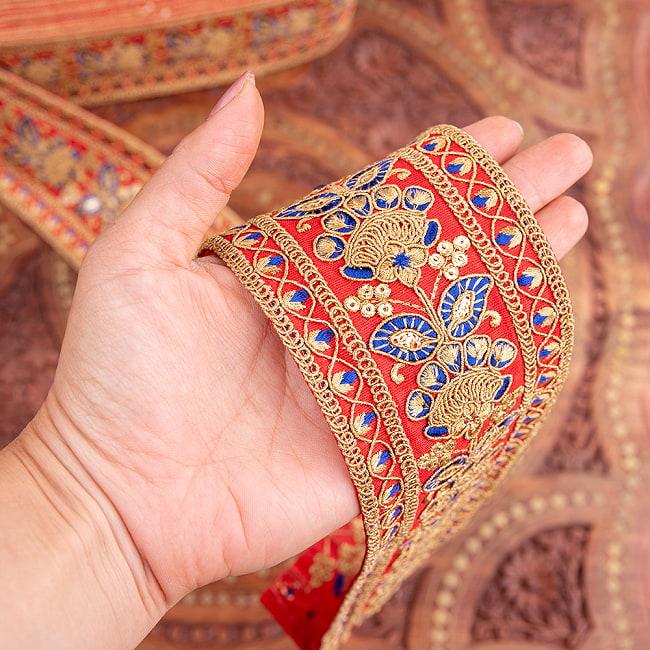 【全5色】 【極太幅7.5cm】 チロリアンテープ メーター売 - 金糸が美しい 更紗模様のゴータ刺繍 −金魚草 6 - 手にとってみました