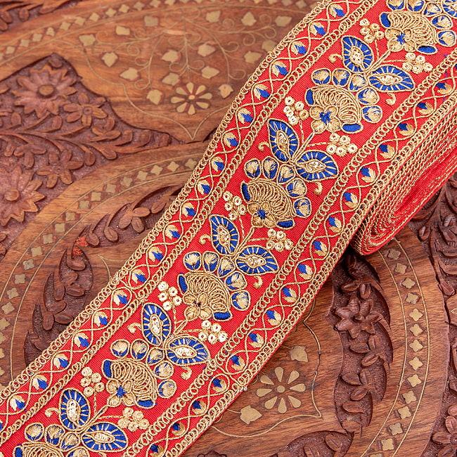 【全5色】 【極太幅7.5cm】 チロリアンテープ メーター売 - 金糸が美しい 更紗模様のゴータ刺繍 −金魚草 8 - 1:赤