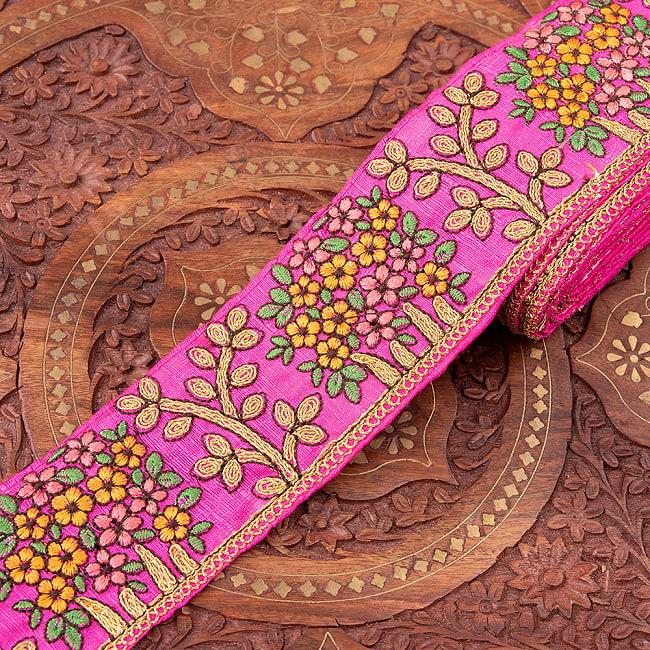 【極太幅8cm】 チロリアンテープ メーター売 - 金糸が美しい 更紗模様のゴータ刺繍  - 満開 10 - 3:ピンク