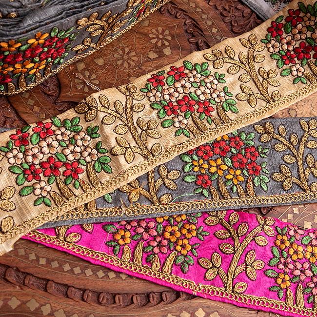 【極太幅8cm】 チロリアンテープ メーター売 - 金糸が美しい 更紗模様のゴータ刺繍  - 満開 11 - 高級感があります