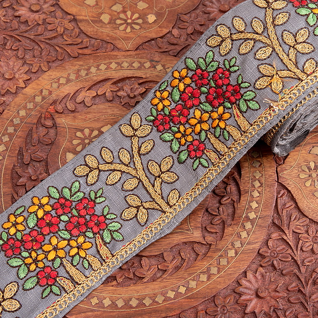 【極太幅8cm】 チロリアンテープ メーター売 - 金糸が美しい 更紗模様のゴータ刺繍  - 満開 8 - 1:グレー