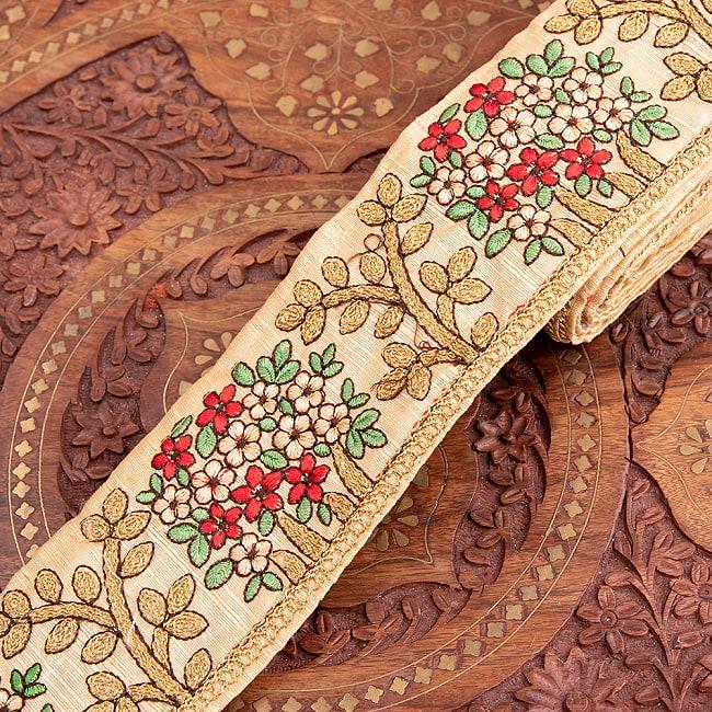 【極太幅8cm】 チロリアンテープ メーター売 - 金糸が美しい 更紗模様のゴータ刺繍  - 満開 9 - 2:アイボリー