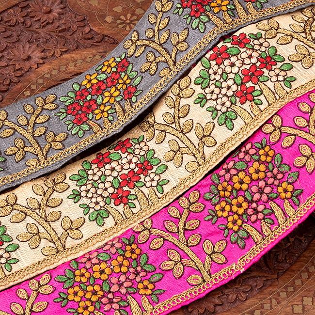 【極太幅8cm】 チロリアンテープ メーター売 - 金糸が美しい 更紗模様のゴータ刺繍  - 満開の写真