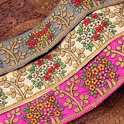【極太幅8cm】 チロリアンテープ メーター売 - 金糸が美しい 更紗模様のゴータ刺繍  - 満開の商品写真